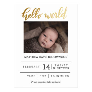 Hello World Birth Announcement Newborn Photo Postcard