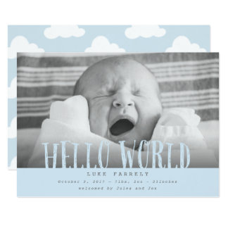 Hello world clouds-baby blue card