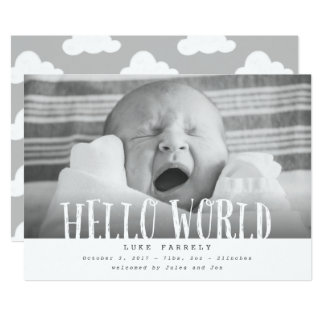 Hello world clouds-grey card