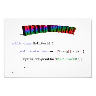 Hello World geek greeting Java Photo Print