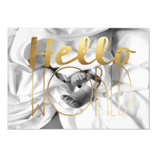 Hello World Gold Foil Baby Announcement | Photo
