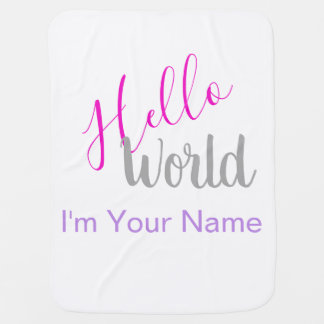 Hello World Personalized Name New Baby Baby Blanket