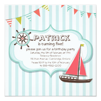 Helm and Sailboat Nautical Birthday Invitation