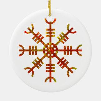 Helm Of Awe Ancient Viking Design Round Ceramic Ornament