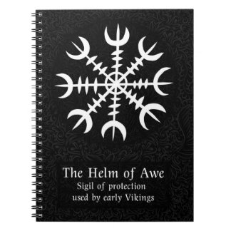 Helm Of Awe Icelandic magical sign - Black Spiral Notebook