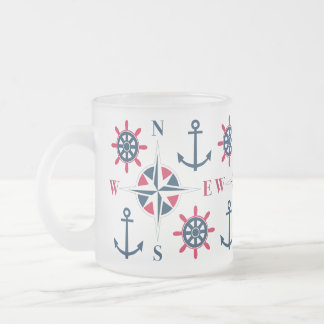 Helm Ship's Steering Anchors & Compass Navy White Frosted Glass Coffee Mug