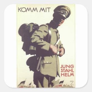 Helmet Cadet Propaganda Poster Square Sticker