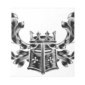 Helmet Coat of Arms Heraldic Crest Notepad