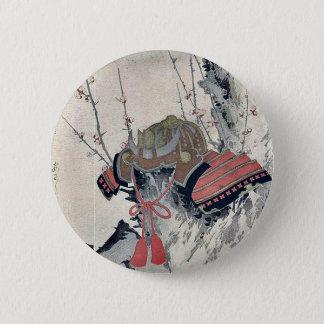 Helmet on a Plum Tree by Ryusai, Shigeharu Ukiyoe 2 Inch Round Button