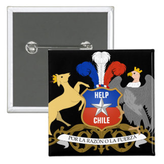 HELP CHILE Coat Of Arms 2 Inch Square Button