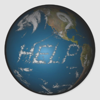 Help Earth Classic Round Sticker