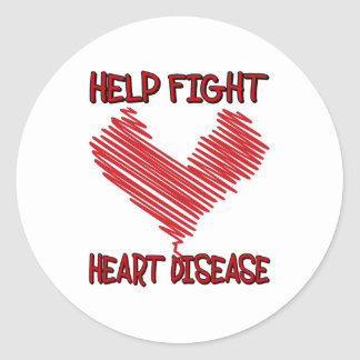 HELP FIGHT HEART DISEASE CLASSIC ROUND STICKER