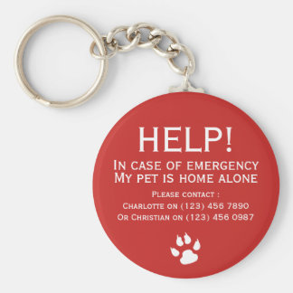 Help pet home alone emergency contact personalized basic round button keychain