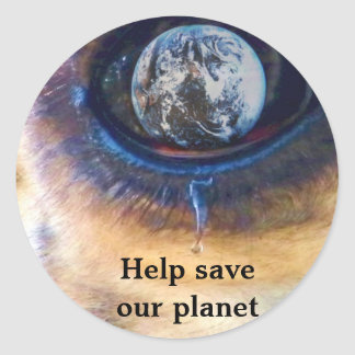 Help save our planet/ Earth Day_Sticker Classic Round Sticker