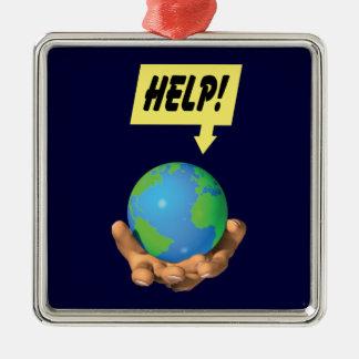 Help the Earth Silver-Colored Square Ornament
