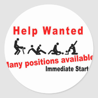 Help wanted classic round sticker