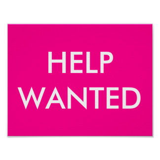 HELP WANTED PINK POSTER