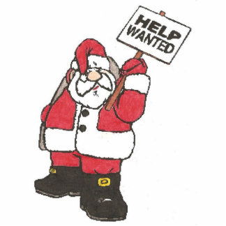 help wanted Santa Standing Photo Sculpture
