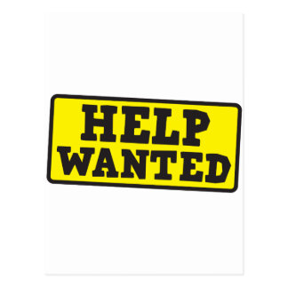 Help wanted sign postcard