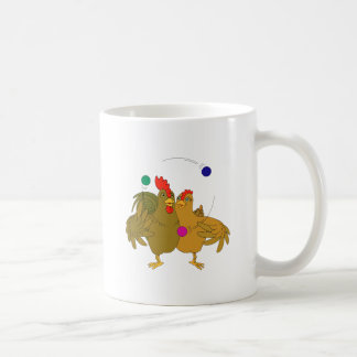 Helped chicken juggling classic white coffee mug