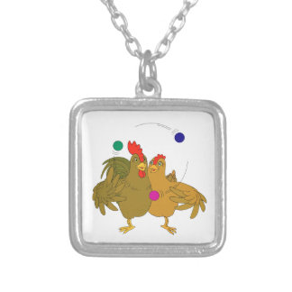 Helped chicken juggling square pendant necklace