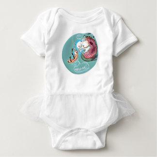 helpful fishbait earthworm funny cartoon baby bodysuit