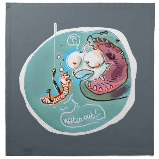 helpful fishbait earthworm funny cartoon napkin