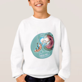 helpful fishbait earthworm funny cartoon sweatshirt