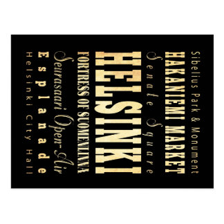 Helsinki City of Finland Typography Art Postcard