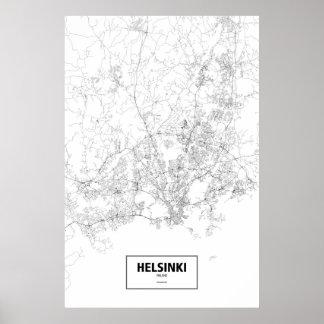 Helsinki, Finland (black on white) Poster