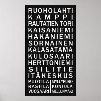 Helsinki Metro Scroll custom color poster
