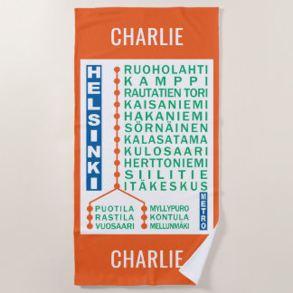 Helsinki Metro Stations custom name beach towel