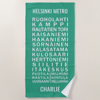 Helsinki Metro Stations custom name &  color Beach Towel