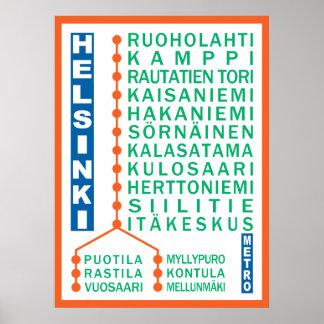 Helsinki Metro Stations poster