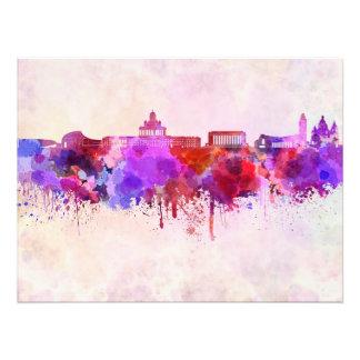 Helsinki skyline in watercolor background photo print