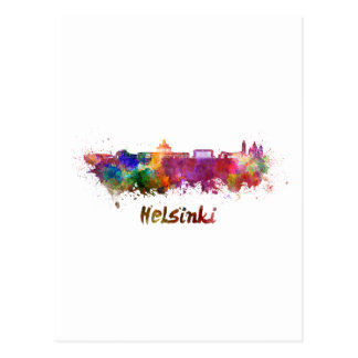 Helsinki skyline in watercolor postcard