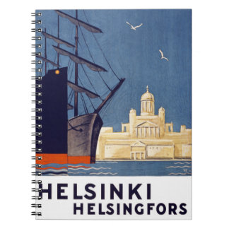 Helsinki Vintage Travel Poster Restored Notebooks