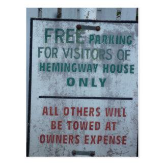 Hemingway House visitor Parking sign Postcard