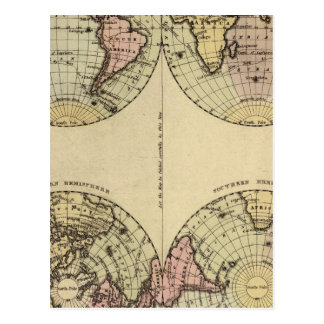 Hemispheres Hand Colored Atlas Map Postcard