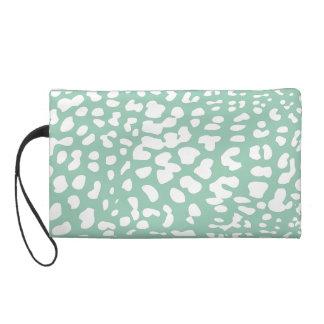 Hemlock and White Leopard Print Wristlet Bag