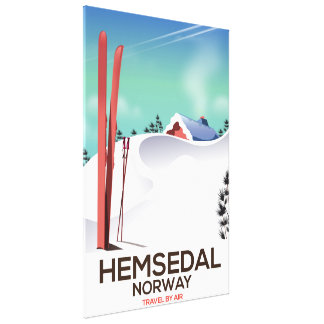 Hemsedal Norway Ski travel poster Canvas Print