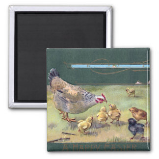 Hen and Chicks Art Nouveau Easter Magnet