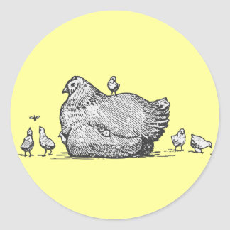 Hen and Chicks Classic Round Sticker