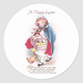 Hen and Girl with Chicks in Basket Vintage Easter Classic Round Sticker