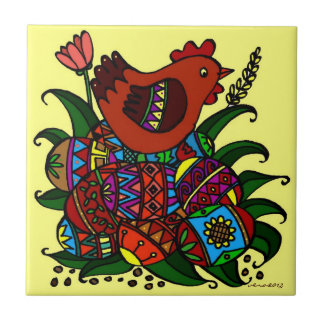Hen and Pysanky Ukrainian Folk Art Tile