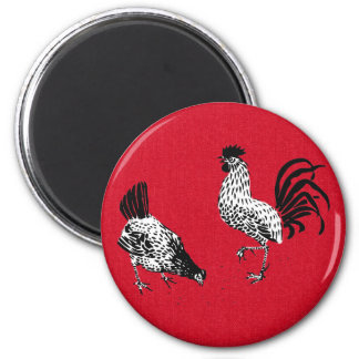Hen and Rooster Magnet