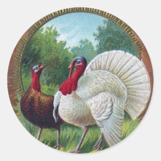 Hen and Tom Turkey Vintage Thanksgiving Classic Round Sticker
