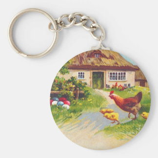 Hen, Chickens and Easter Eggs Basic Round Button Keychain