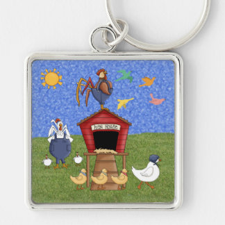 Hen House Silver-Colored Square Keychain