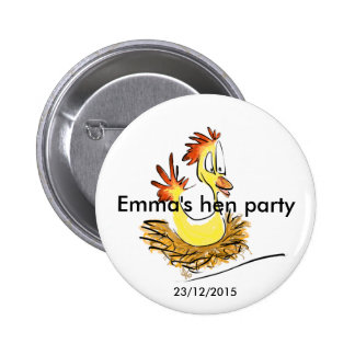 Hen party badge (name) (date) 2 inch round button